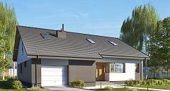 Projekt domu E-243a Wygodny dom z gabinetem