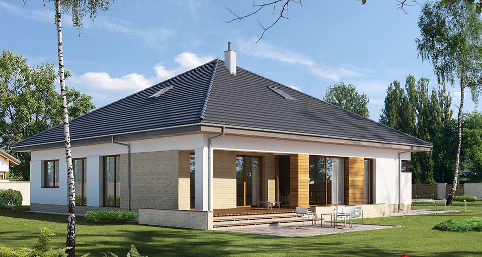 Projekt domu Parterowy dom dla dużej rodziny E-264