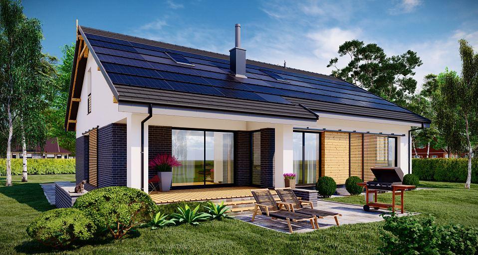Projekt domu Dom z prostym dachem dwuspadowym E-243