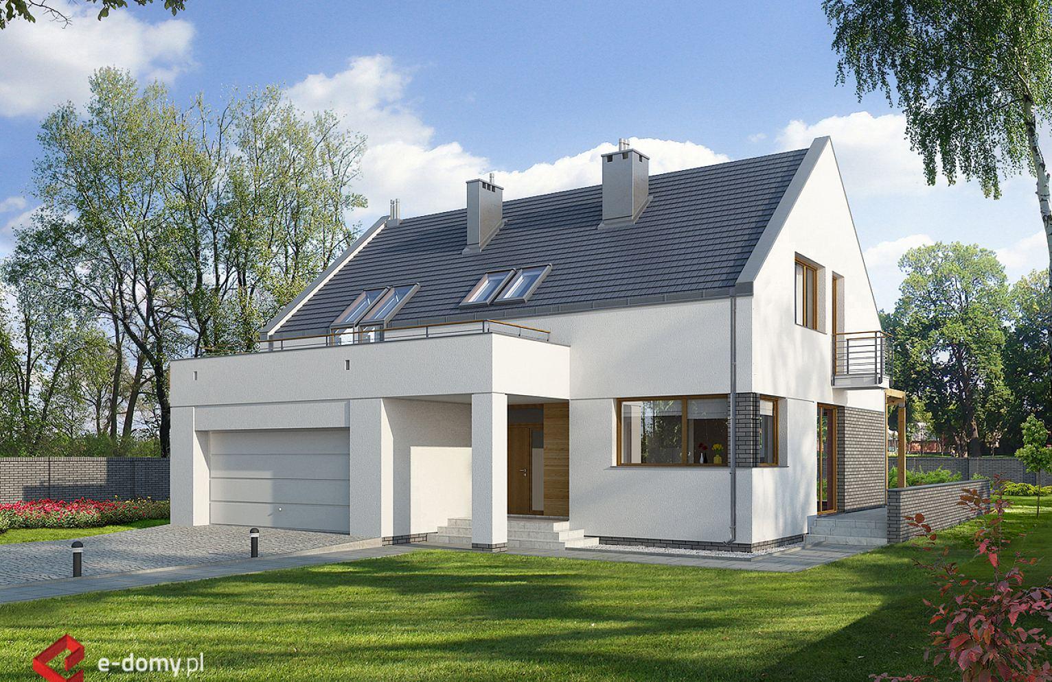 E 102 Nowoczesny Dom Z Garazem Dwustanowiskowym E Domy Pl Projekty