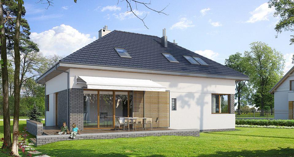 Projekt domu Dom w kształcie litery L E-105