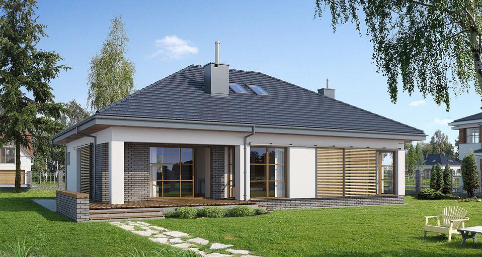 Projekt domu E-111 Mały dom z garażem w bryle
