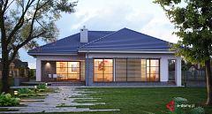 Projekt domu E-115 Dom parterowy z 3 sypialniami