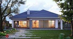 Projekt domu E-119 Dom parterowy z 4 sypialniami