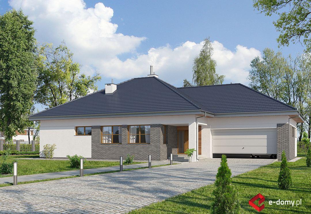E-120 Wąski dom parterowy z dwustanowiskowym garażem - E-DOMY.pl Projekty domów jednorodzinnych ...