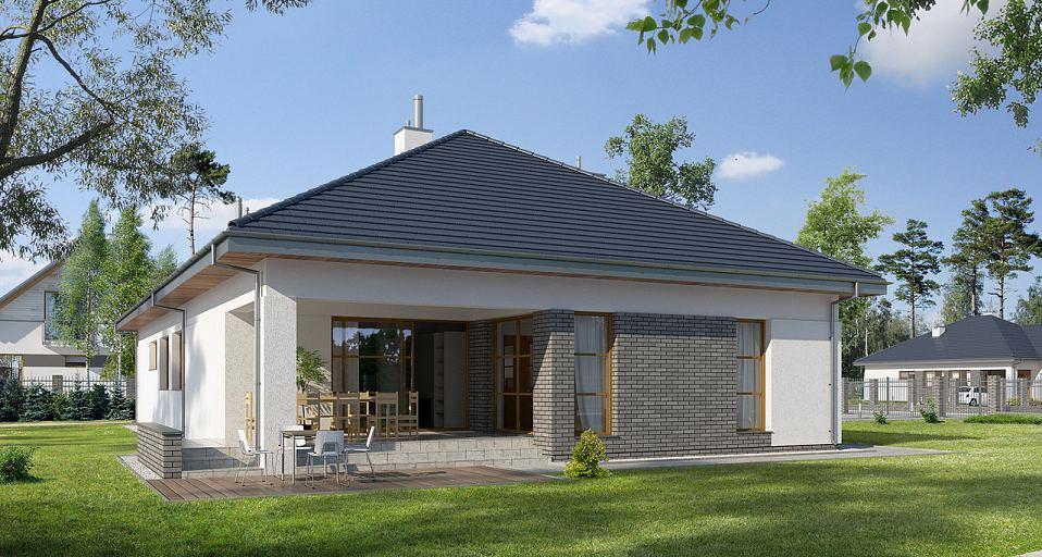 Projekt domu Dom parterowy na szeroką działkę E-120