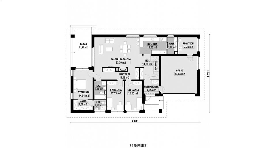 Projekt domu E-120 Dom parterowy na szeroką działkę