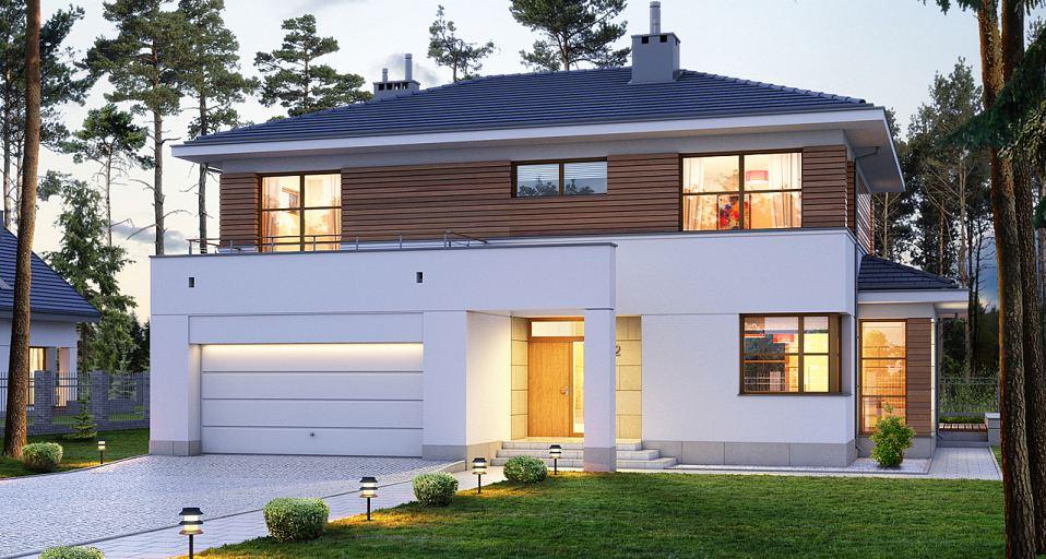 Projekt domu Dom z tarasem nad garażem E-122