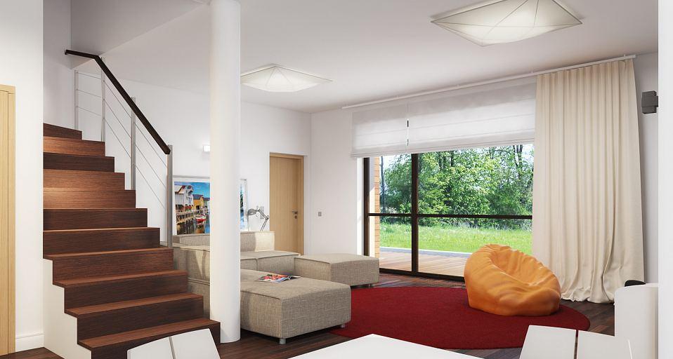 Projekt domu E-124 Dom piętrowy z tarasem na piętrze