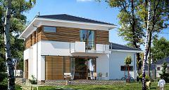 Projekt domu E-125 Prosty dom piętrowy