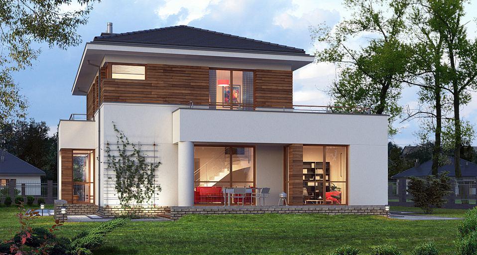 Projekt domu Dom z tarasem nad garażem E-126