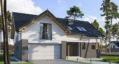 Projekt domu E-127 Dom z dachem dwuspadowym