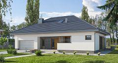 Projekt domu E-131 Parterowy dom z 2 sypialniami