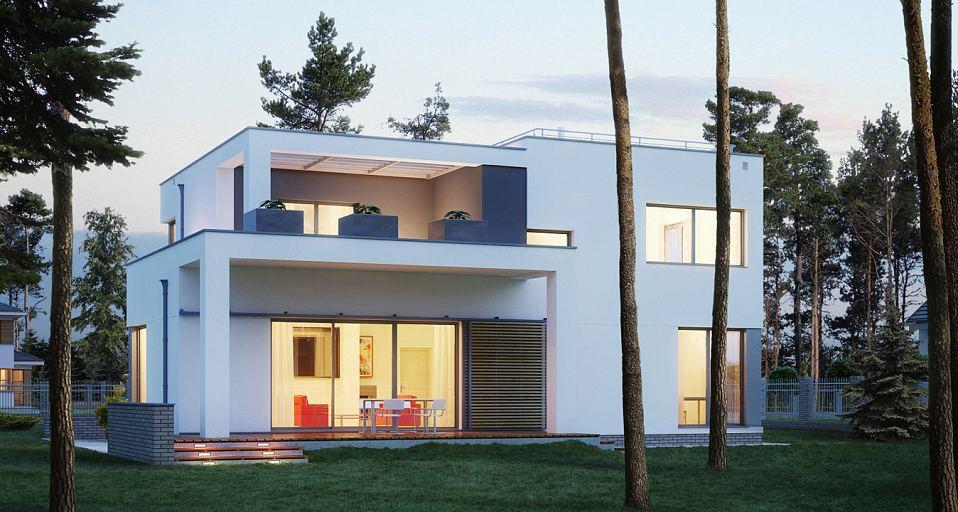 Projekt domu E-137 Dom piętrowy z płaskim dachem