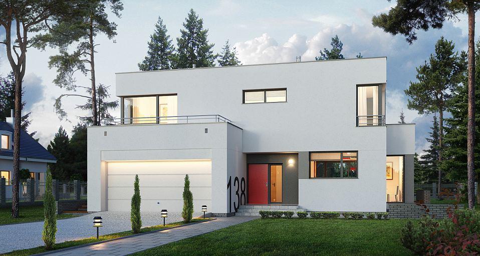 Projekt domu E-138 Nowoczesny dom z płaskim dachem