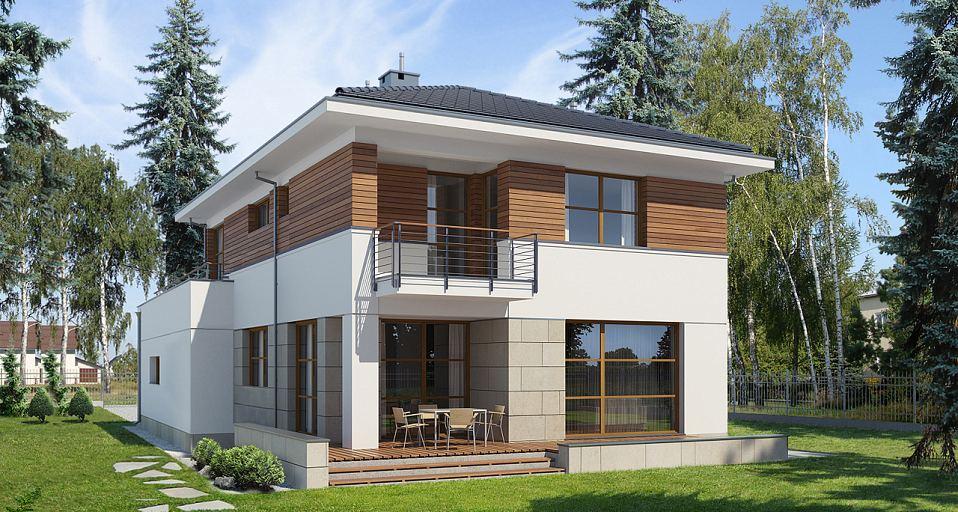 Projekt domu Dom piętrowy na wąską działkę E-139