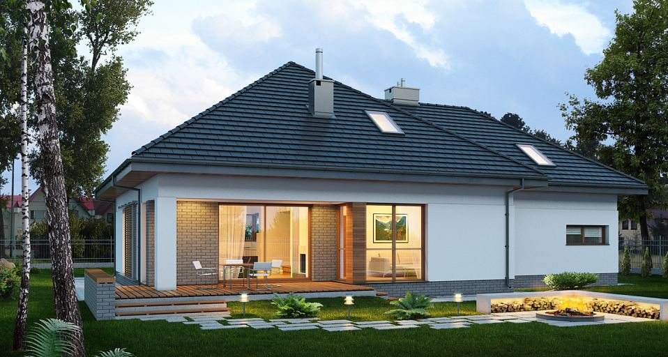 Projekt domu Dom z poddaszem z dużą łazienką E-142