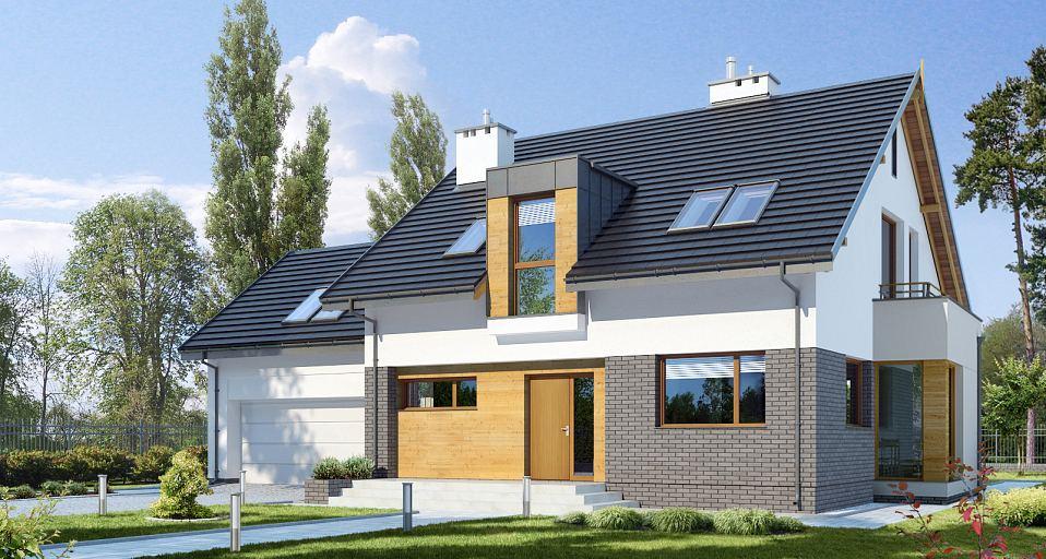Projekt domu Nowoczesny dom z wykuszem E-147