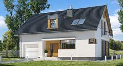 Projekt domu E-159 Niewielki dom z garażem