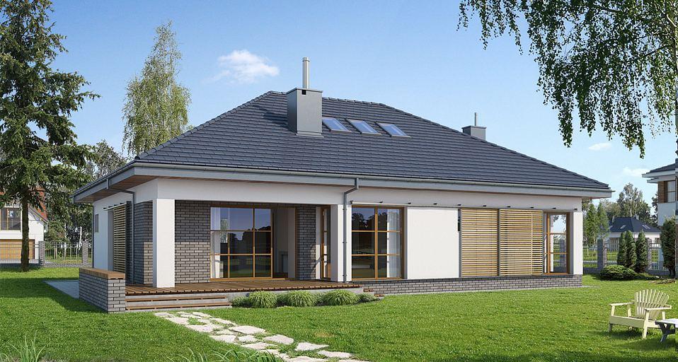 Projekt domu Dom parterowy z trzema sypialniami E-152