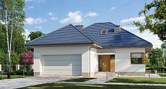 Projekt domu E-164 Dom z poddaszem na wąską działkę