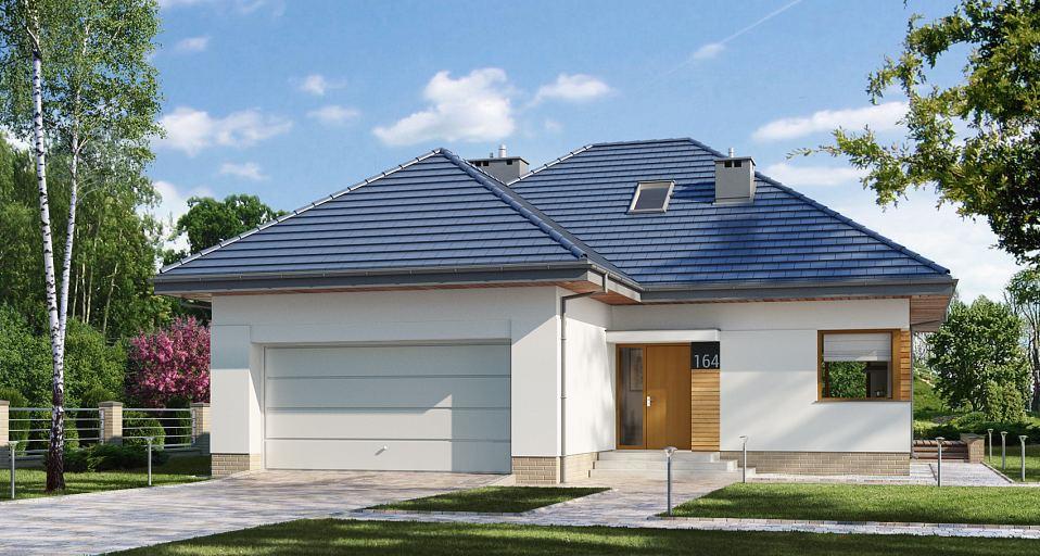 Projekt domu Dom z poddaszem na wąską działkę E-164