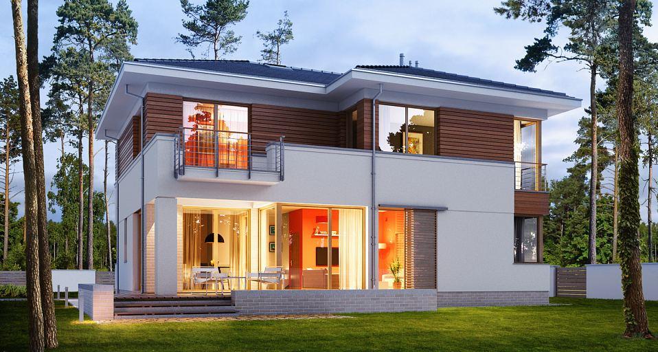 Projekt domu Mała rezydencja na wąska działkę E-163