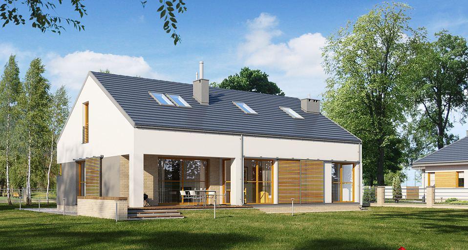 Projekt domu Mały dom z garażem w bryle E-171