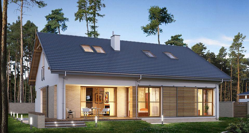 Projekt domu Dom bez garażu na wąską działkę E-173