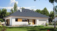 Projekt domu E-174 Dom parterowy z tarasem z boku