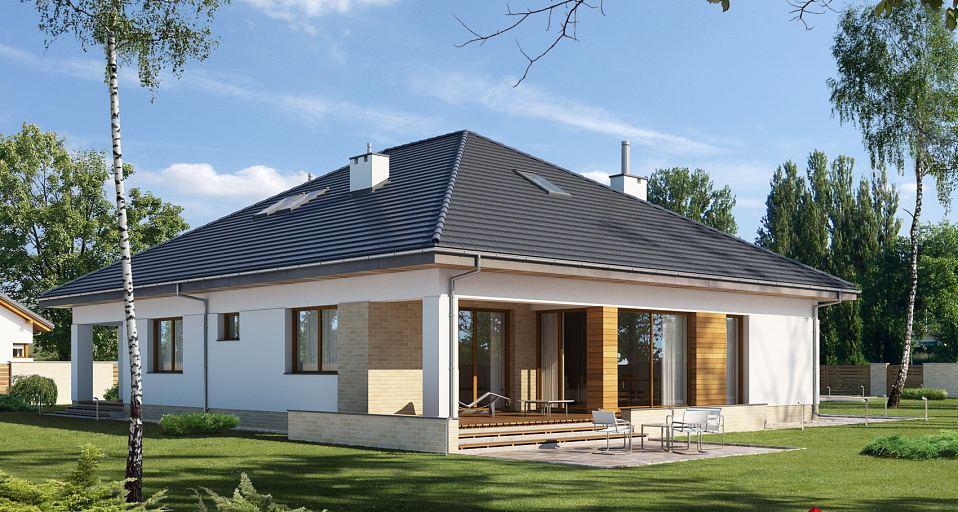 Projekt domu Dom parterowy z tarasem z boku E-174