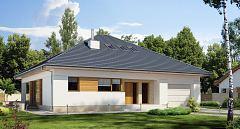 Projekt domu E-176 Parterowy dom o zwartej bryle