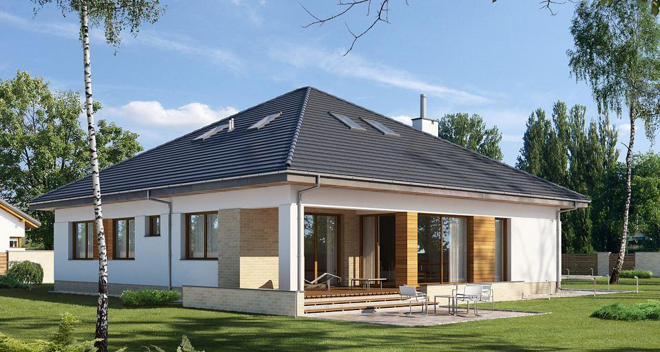Projekt domu Parterowy dom o zwartej bryle E-176