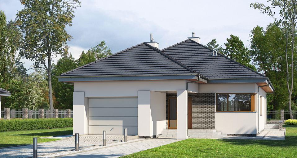 Projekt domu Funkcjonalny dom na wąską działkę E-180