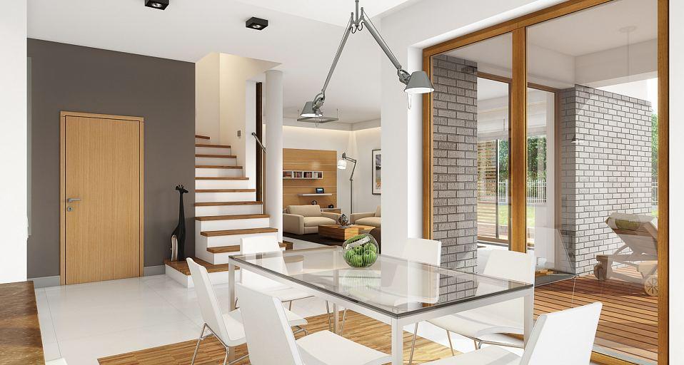 Projekt domu E-128 Dom z dużą jadalnią i tarasem