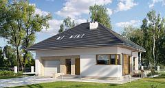 Projekt domu E-177 Dom z poddaszem na wąską działkę