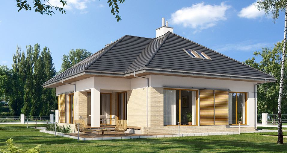 Projekt domu Dom z poddaszem na wąską działkę E-177