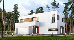 Projekt domu E-187 Nowoczesny dom z tarasami