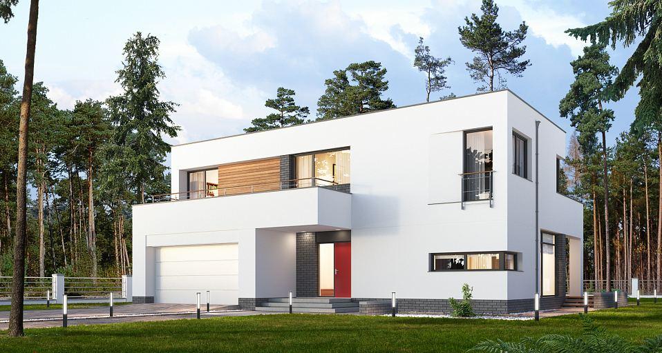Projekt domu Nowoczesny dom z tarasami E-187
