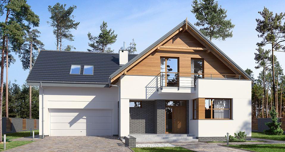 Projekt domu Dom z pokojem od frontu E-198