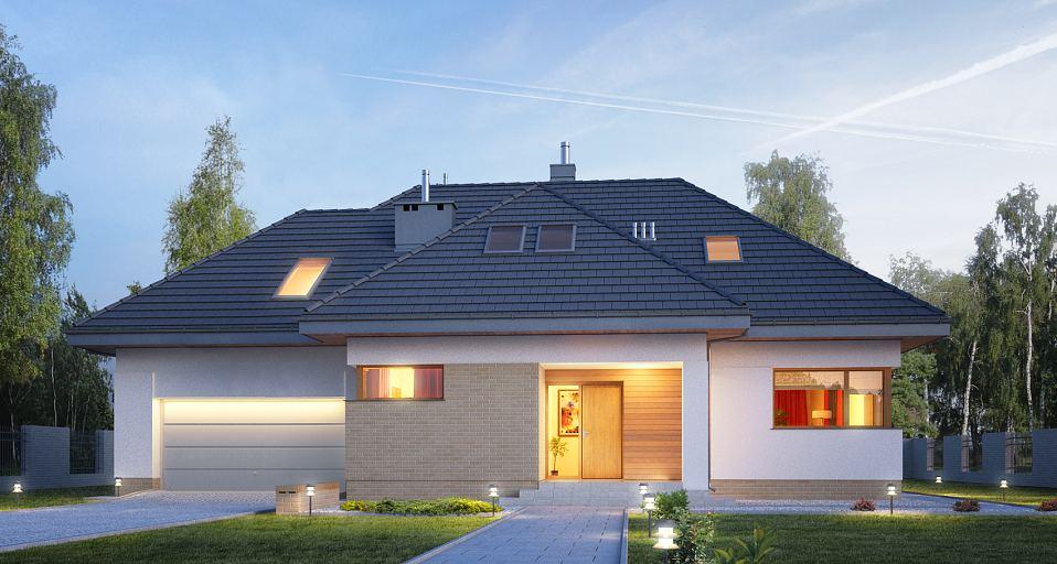 Projekt domu E-189 Tradycyjny dom z dużym garażem
