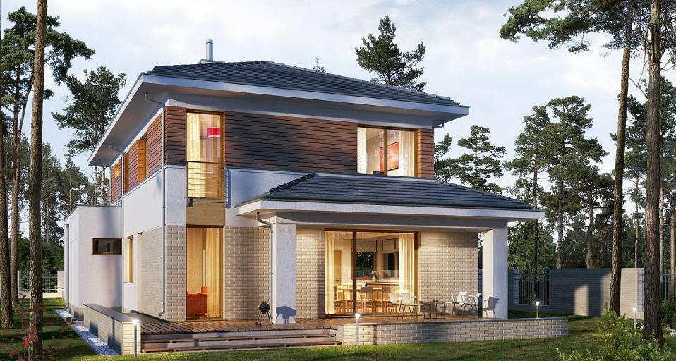 Projekt domu Piętrowy dom na wąską działkę E-201