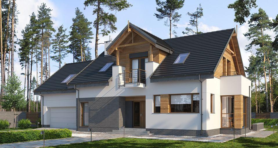 Projekt domu Tradycyjny dom z lukarną E-196