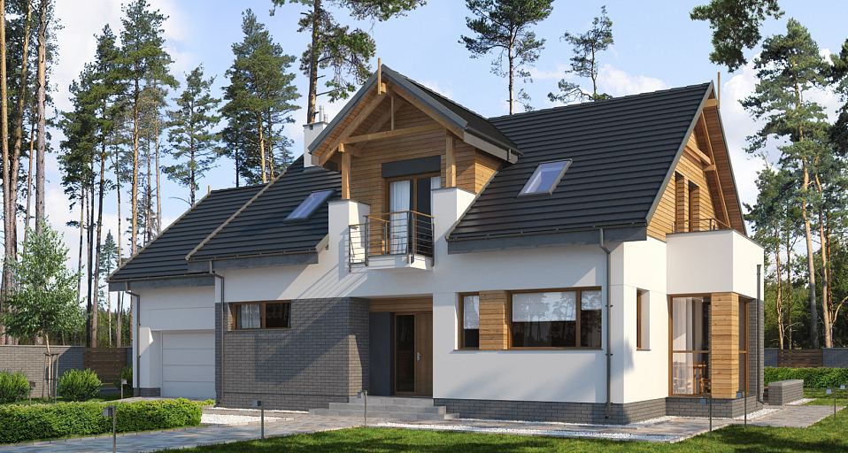 Projekt domu Dom dwuspadowy z lukarną E-197