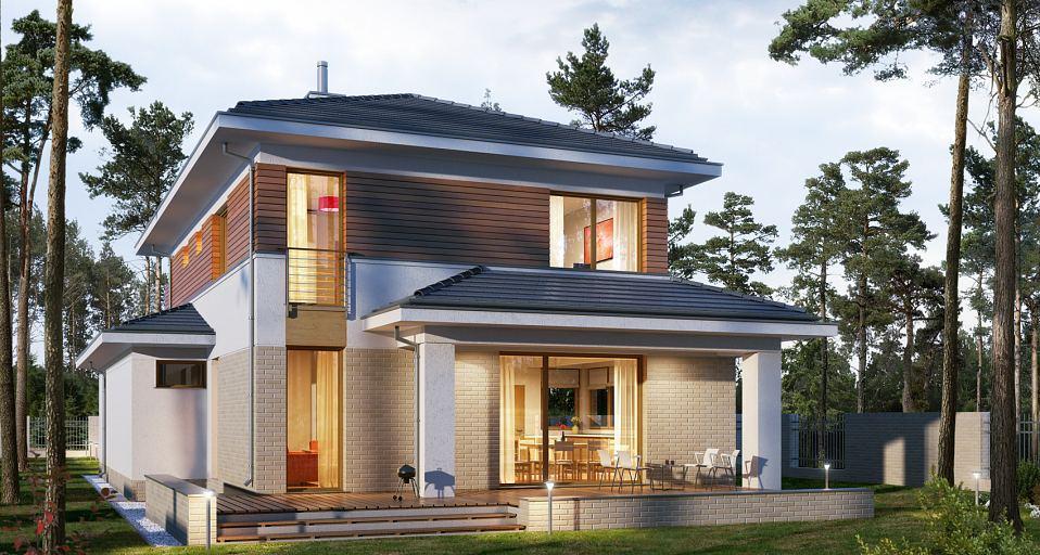 Projekt domu Mały dom piętrowy na wąską działkę E-200