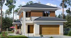 Projekt domu E-200 Mały dom piętrowy na wąską działkę