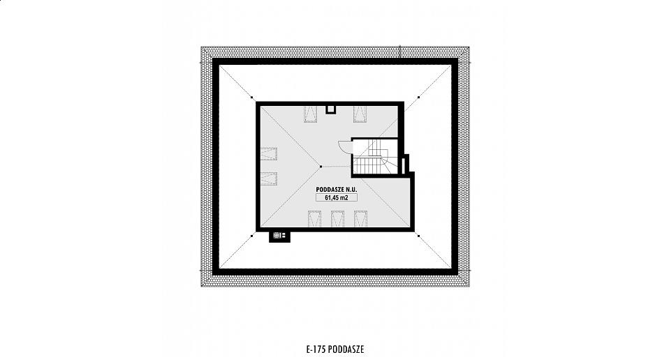 Projekt domu E-175 Dom parterowy z dużym salonem