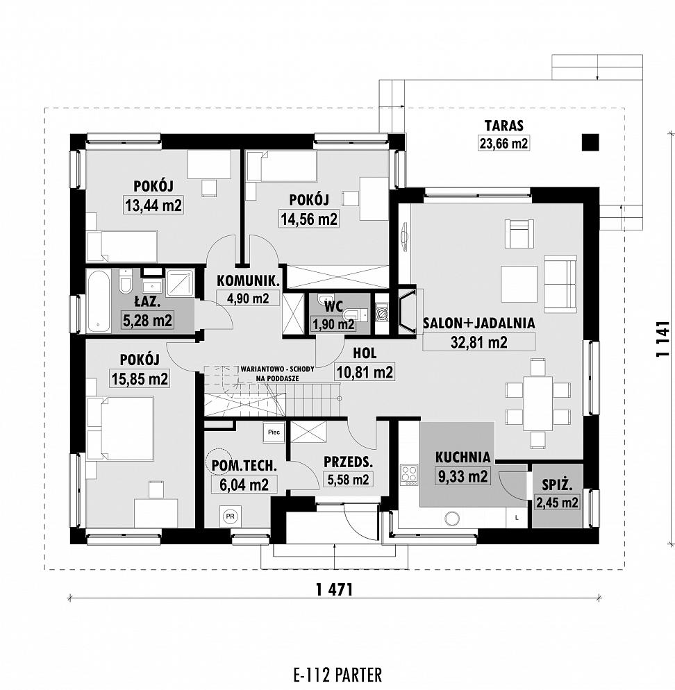 E 112 Prosty Dom Parterowy Bez Garażu E Domypl Projekty Domów