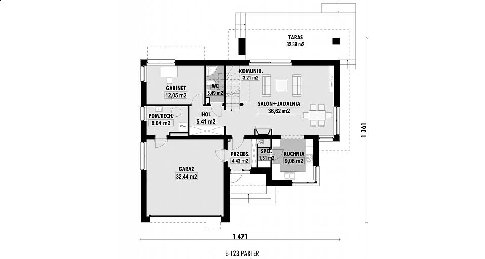 Projekt domu E-123 Dom piętrowy, mała rezydencja