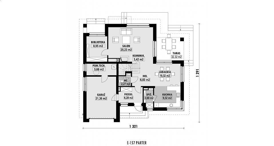 Projekt domu E-157 Dom z tarasem przy jadalni
